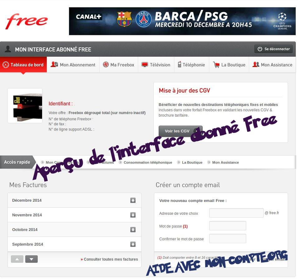 Mon compte free facture t l phone mobile et internet - La poste mon espace client nouvelle livraison ...