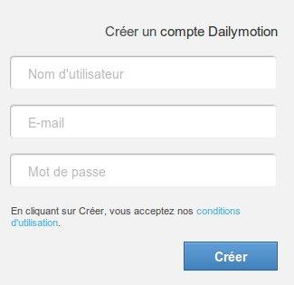 Ouverture de compte dailymotion