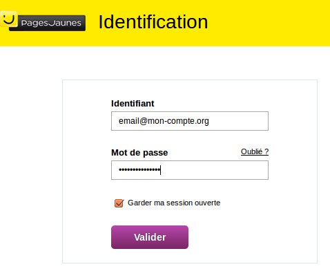 Identification pages jaunes