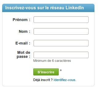 Inscription sur linkedin