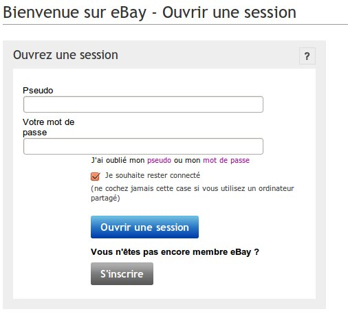 Ebay ouvrir une session