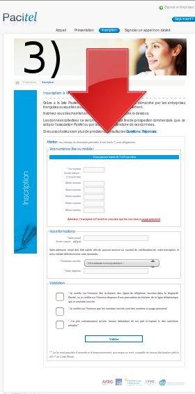 """3) Remplissez les cases demandées puis confirmer votre inscription en cliquant sur """"Valider"""""""