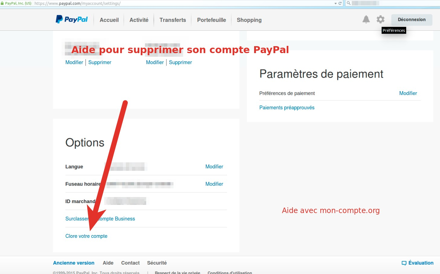 supprimer paypal