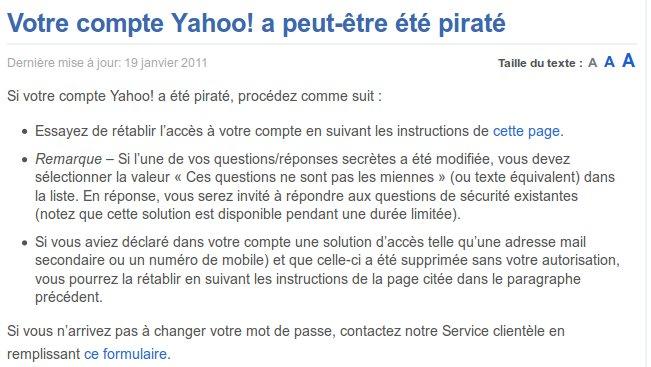 Compte piraté sur Yahoo